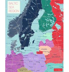 baltic region detailed editable map vector image