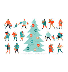 banner for christmas sale people going after vector image