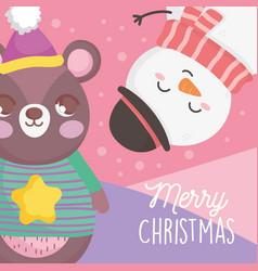 bear and snowman with hat snow merry christmas vector image