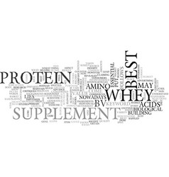 Best whey protein supplement text word cloud vector