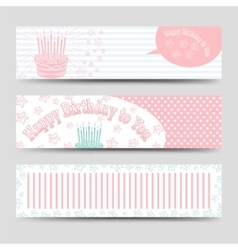 Birthday banners template with cake vector