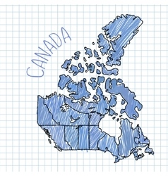 Blue pen hand drawn Canada map on paper vector