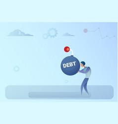 Business man hold bomb credit debt finance crisis vector