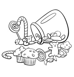 candy group cartoon coloring book vector image