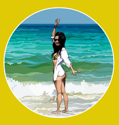 cartoon woman standing on the beach with her hand vector image