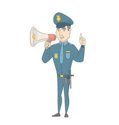 Caucasian policeman speaking into loudspeaker vector