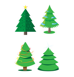 Christmas decorated christmas trees isolated the vector