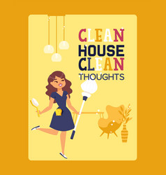 Clean house typography poster with inspirational vector