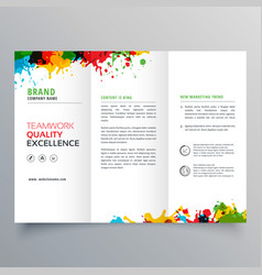 Colorful ink splatter trifold brochure design vector