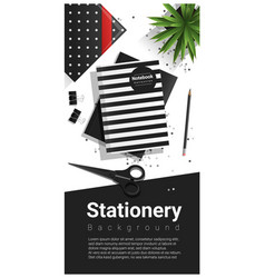 creative scene with black and white stationery vector image