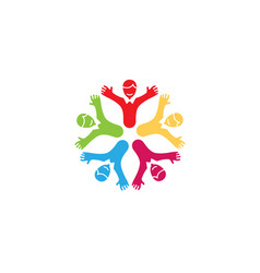 Creative unique colorful group of kids logo vector