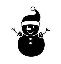 cute snowman character icon vector image