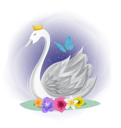 Cute swan with butterfly design vector