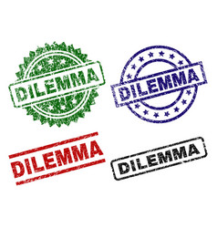 Damaged textured dilemma seal stamps vector