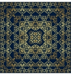 Dark blue bandanna with gold pattern vector