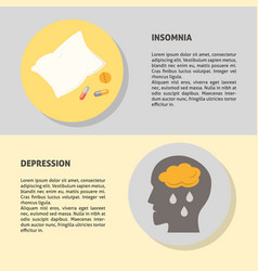 Depression and insomnia banner templates in flat vector