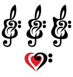 Different guitars violin treble clef set vector