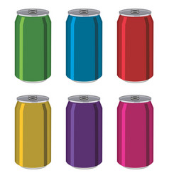 Drink tin cans aluminum colorful containers vector