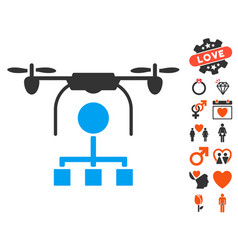 Drone distribution icon with dating bonus vector