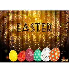Easter golden tiles background with eggs vector image