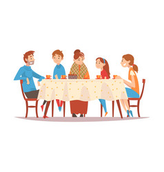 family sitting at kitchen table drinking tea and vector image