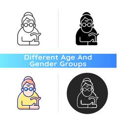 Female pensioner icon vector