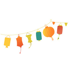 Festive paper lanterns on a string vector