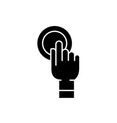 finger touch black icon sign on isolated vector image