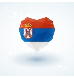 Flag of serbia in shape diamond glass heart vector