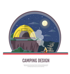Flat design of seaside landscape and camping vector