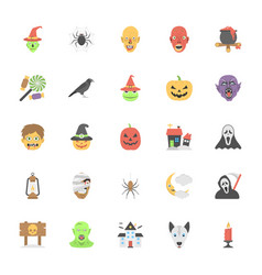 flat icons halloween set vector image