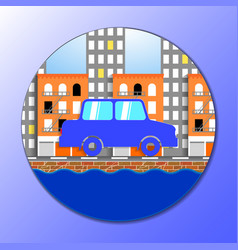 flat of car in new york city vector image