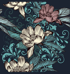 floral seamless pattern with flowers and ornament vector image