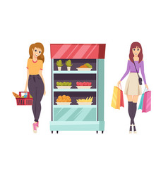 Food shopping customer with basket set vector