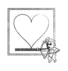 Fram with heart and cupid sketch vector