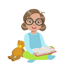 girl in glasses with teddy bear reading a book vector image
