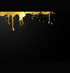 gold frame template artistic grungy paint drop vector image
