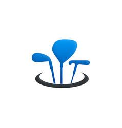 golf tool stick sport logo vector image