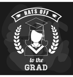 Graduation cap and girl icon University design vector
