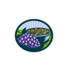 Grapes raisins bowl oval woodcut vector