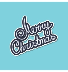 Gray Text Merry Christmas on Green Background vector image