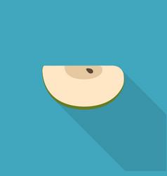Green apple slice icon in flat long shadow design vector