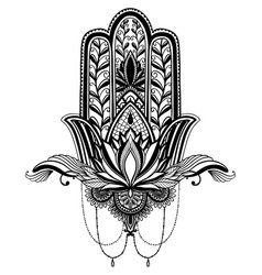 Hamsa talisman religion asian and lotus flower vector