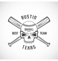 hand drawn baseball team logo template skull vector image