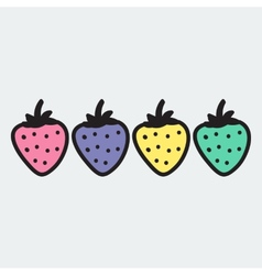 Hand drawn strawberry in doodle style vector image