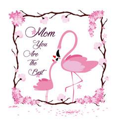 Happy mothers day flamingo cartoon vector