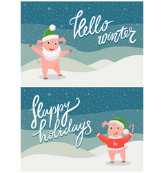 hello winter and happy holidays postcard with pig vector image