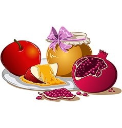 Honey apple and pomegranate for rosh hashanah vector