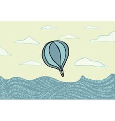 Hot air balloon over the sea vector image