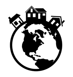 Houses in the world black icon vector image